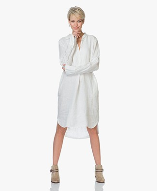 LaSalle Pure Linen Shirt Dress - White