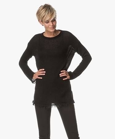 no man's land Long Pullover in Mohair Wool Blend - Core Black