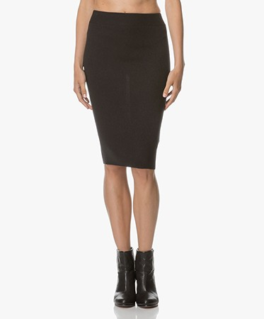 Marie Sixtine Castor Knitted Pencil Skirt - Charbon
