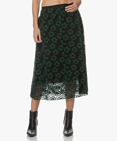 BY-BAR - BY-BAR Limited Embroidery Kanten Midi-rok - Groen