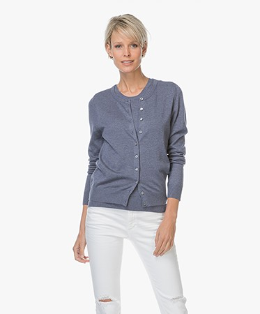 Repeat Cashmere - Repeat Klassiek Kort Vest in Katoenmix - Night