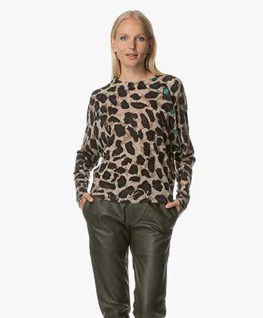 Zadig et Voltaire Justy Leopard Print Cashmere Sweater - Mastic