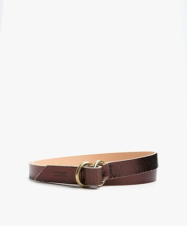 Closed Metallic Leren Riem - Metallic Brown