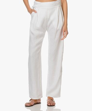 Matin Studio Linen Pleated Pants - White