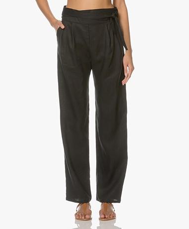 Matin Studio Linen Pleated Pants - Black