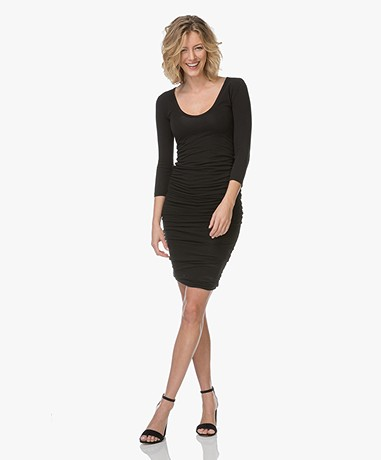 James Perse Jersey Dress with Round neck - Black