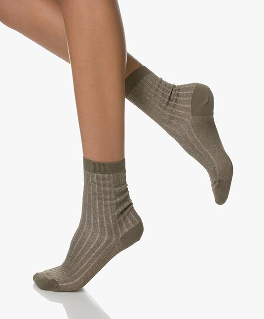 Filippa K Lurex Rib Socks - Khaki Green