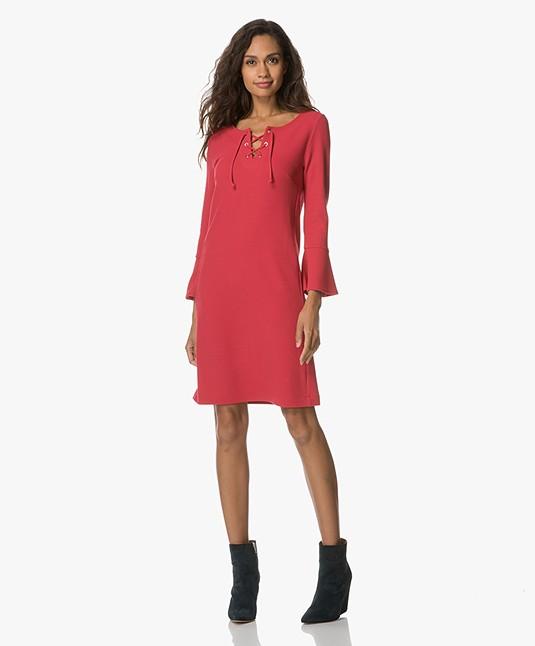 Kyra & Ko Dora Twill Dress with Lace Closure - Pink
