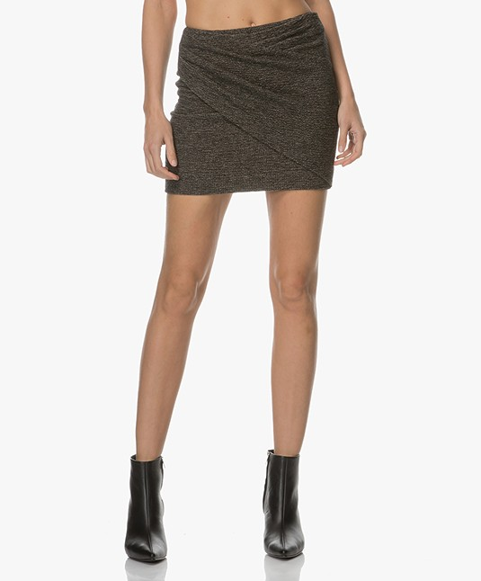 Ba&sh Totel Mini Skirt with Pleated Design - Beige Melange