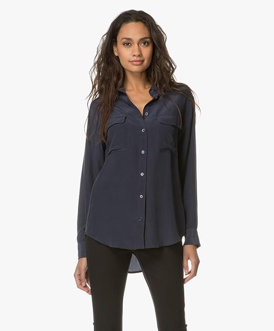 Equipment Signature Washed-silk Shirt - Dark Blue