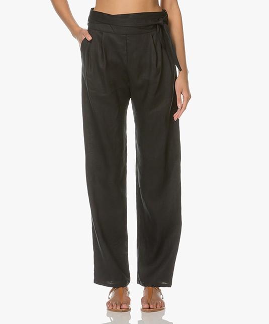 7699225ccf223 Matin Studio Linen Pleated Pants - Black - pleat front pant w. tie