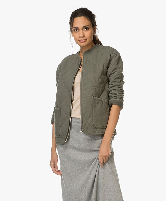 Filippa K Quilted Denim Jacket - Khaki Green
