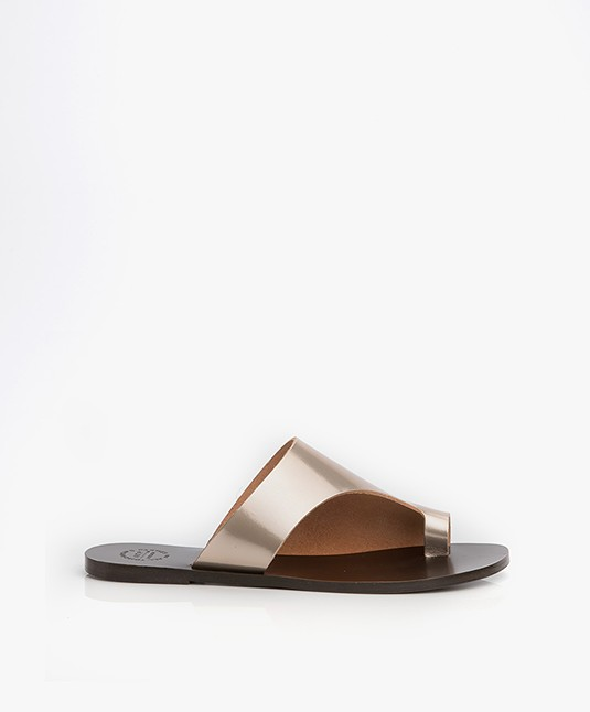 ATP Atelier Rosa Leather Slipper Sandals - Toffee Metallic