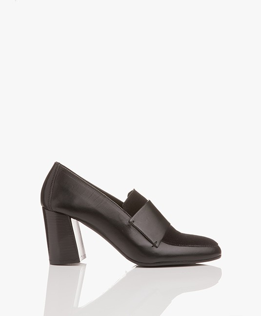 ATP Atelier Wanda Leather Loafer Heels - Black Vacchetta/Suede