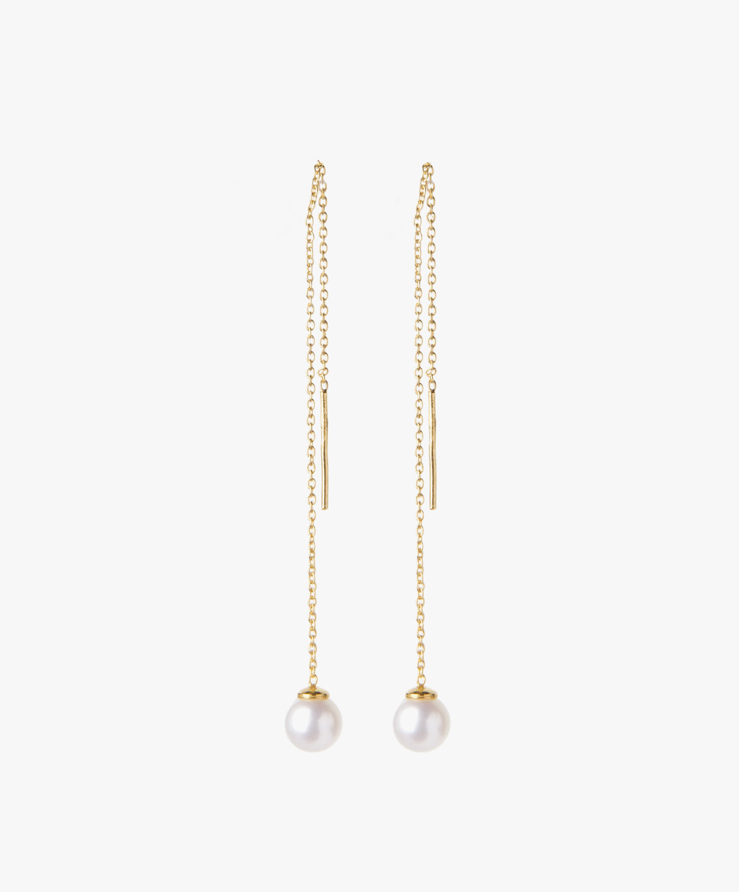Susanne Friis Bjørner Pull Through Earrings - Gilded Silver/Freshwater Pearl