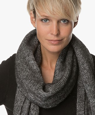 Drykorn Cronica Knitted Scarf - Black/Silver