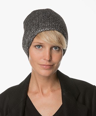 Drykorn Trish Knitted Beanie Hat - Black/Silver