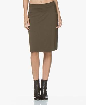 LaSalle Lyocell Jersey Skirt - Khaki Green