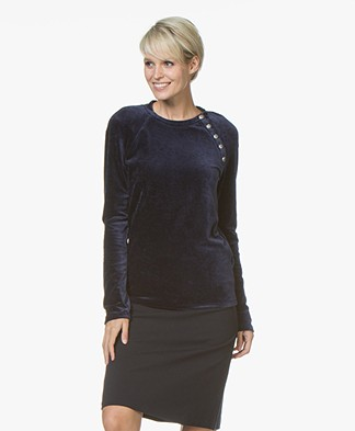 Majestic Filatures R-neck Pullover in Velours Jersey - Marine