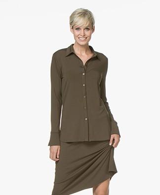 LaSalle Lyocell Jersey Blouse - Khaki Green