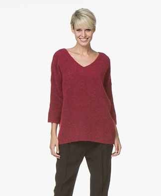 no man's land Mohair Sweater - Ruby