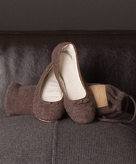 Repeat Cashmere Ballet Slipper - Truffle - Repeat Cashmere & The Shirt | Perfectly Basics :  cashmere slippers ballerinas