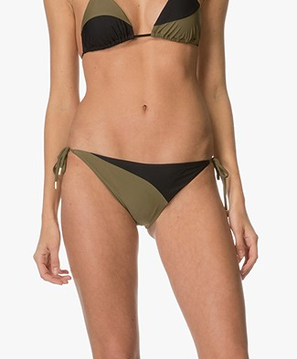 Calvin Klein Cheky Two-Tone Side Tie Bikini Briefs - Black/Military Green