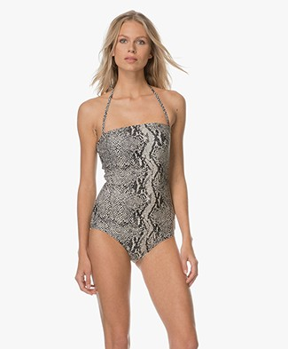 By Malene Birger Ilena Swimsuit - Off-white/Black/Grey