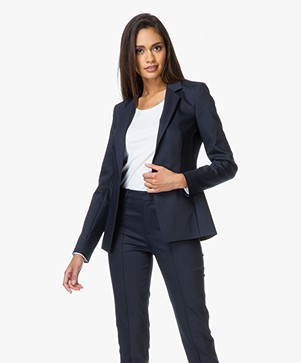 Drykorn Blazer Golders in Fine Cotton-stretch - Donkerblauw