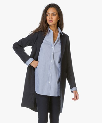 Majestic Long Linen Blazer - Navy