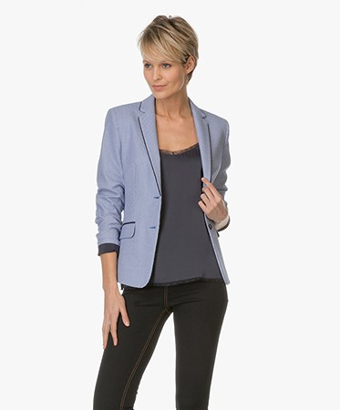 Hugo Boss | HUGO - HUGO Ainett Blazer met Patroon - Open Blue