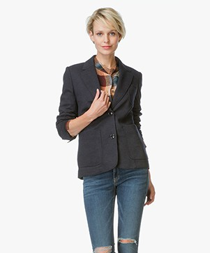 Closed St. Andrews Wolmix Blazer - Navy