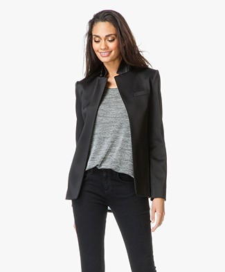 T by Alexander Wang Satin Blazer - Black