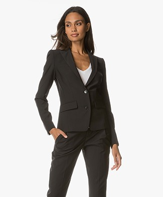 Drykorn Blazer Goole in Cool Wool - Zwart