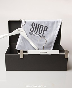 Gift box, hangers and laundry bag