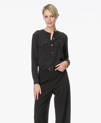 Theory Damaris Silk Blouse - Black