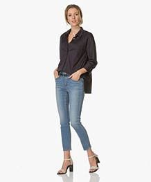 Repeat Cotton A-line Blouse - Ink