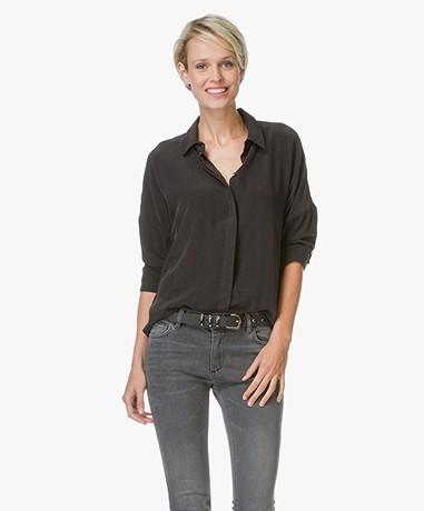 Anine Bing Drop Shoulder Silk Blouse - Zwart