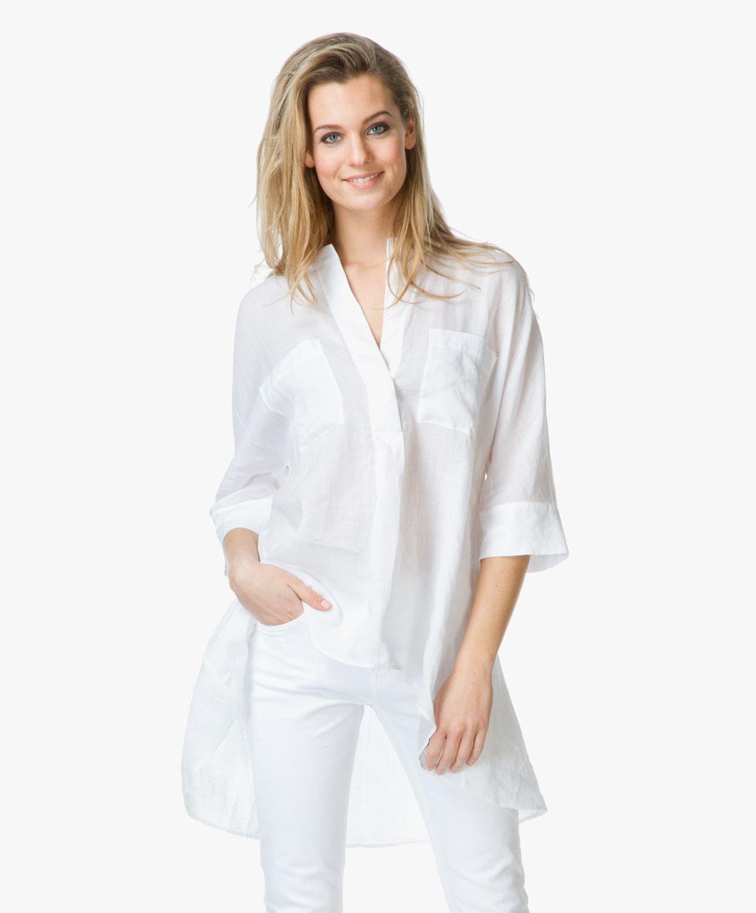 White Linen Tunic Blouse 19