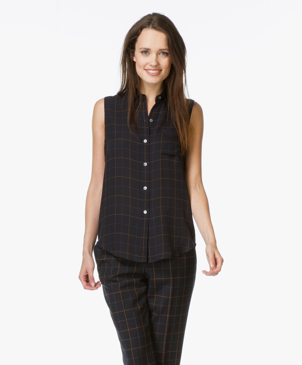 Theory Yarine Silk Checkered Blouse - Dark Navy Multi