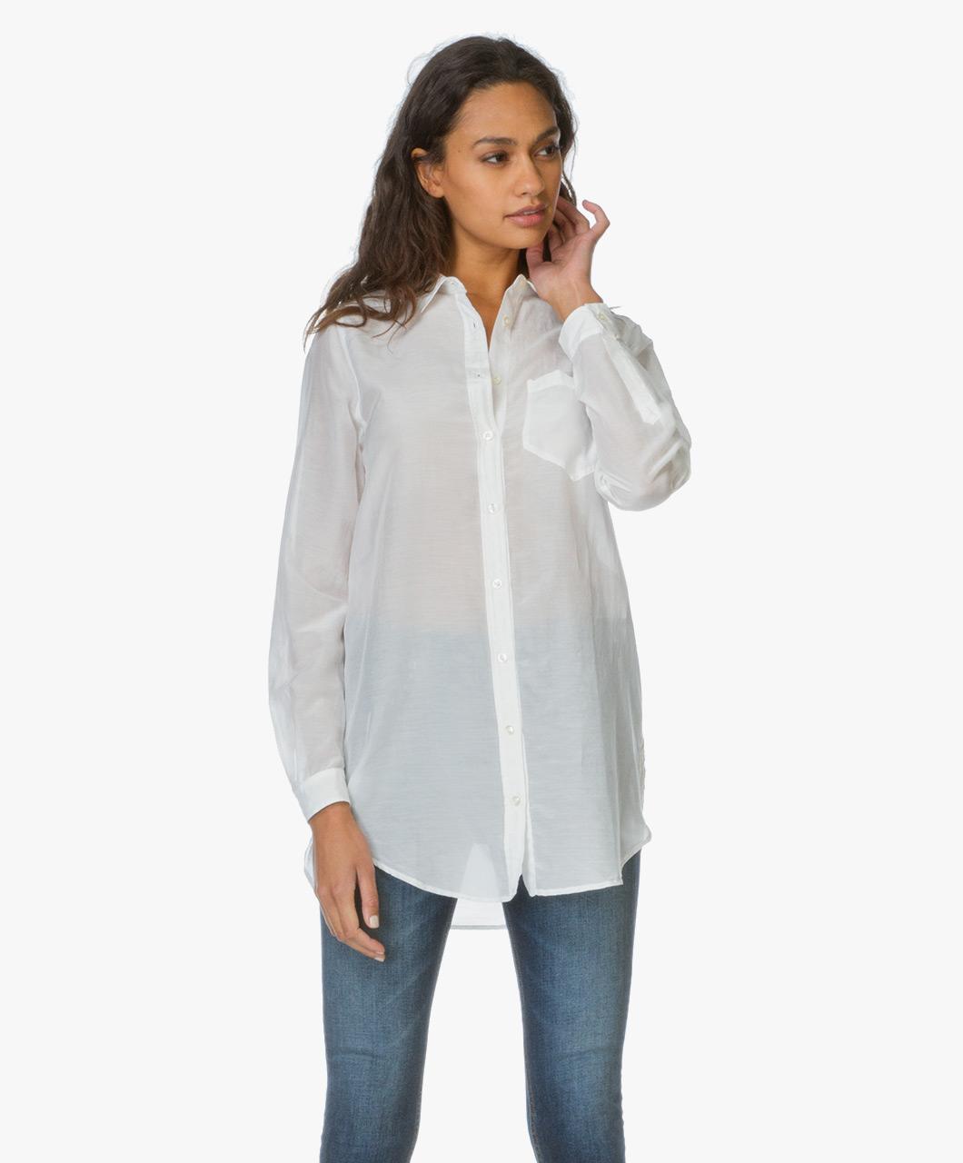 boss orange chrisler long blouse off white 50302101 100. Black Bedroom Furniture Sets. Home Design Ideas