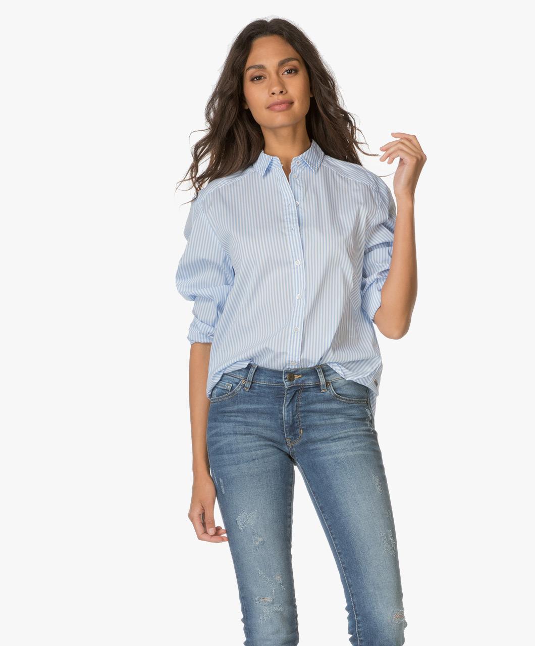 boss orange emai gestreepte blouse open blue emai 50369343 460 open. Black Bedroom Furniture Sets. Home Design Ideas