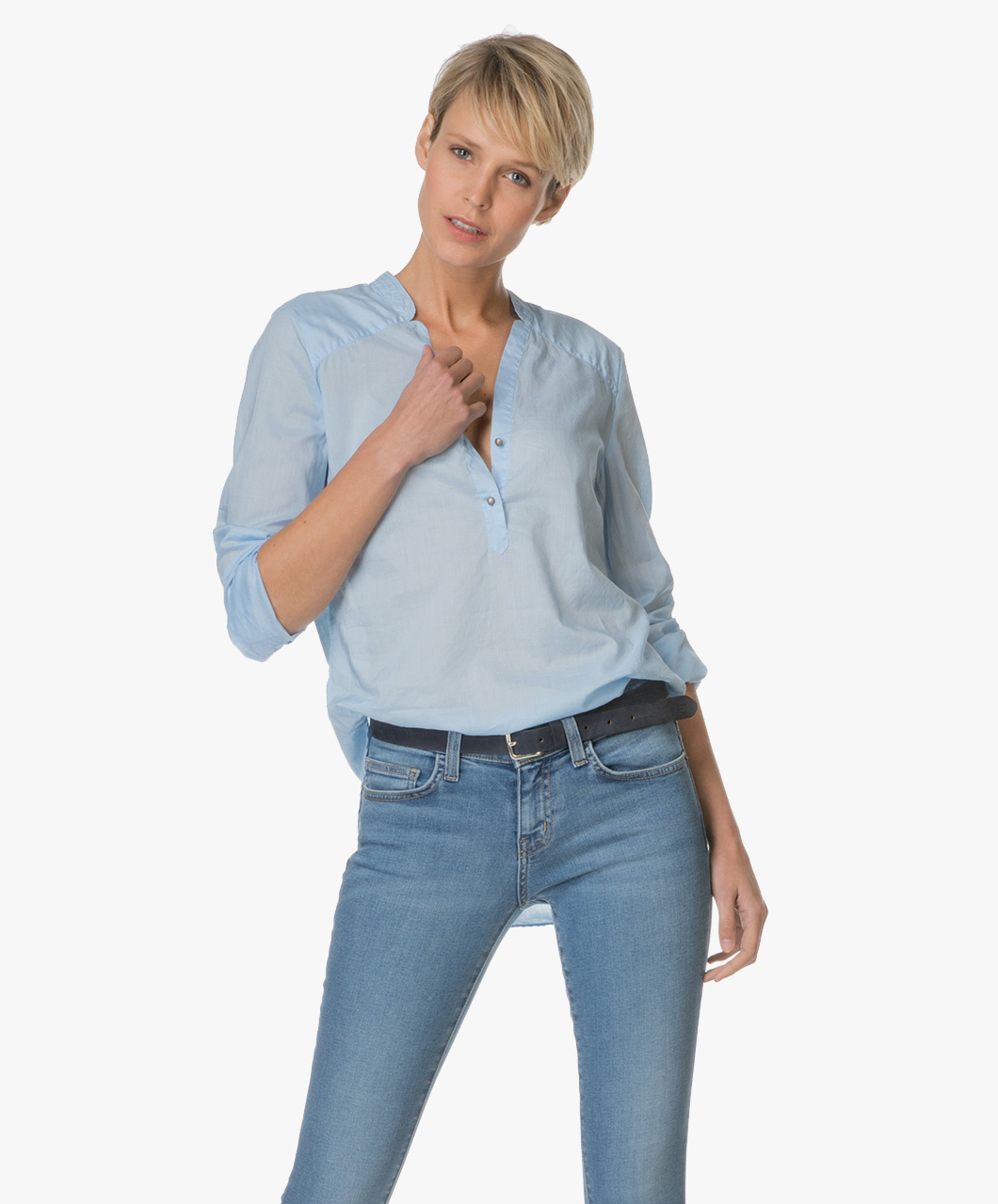 boss orange evifee blouse open blue evifee 50331368 460 dark. Black Bedroom Furniture Sets. Home Design Ideas