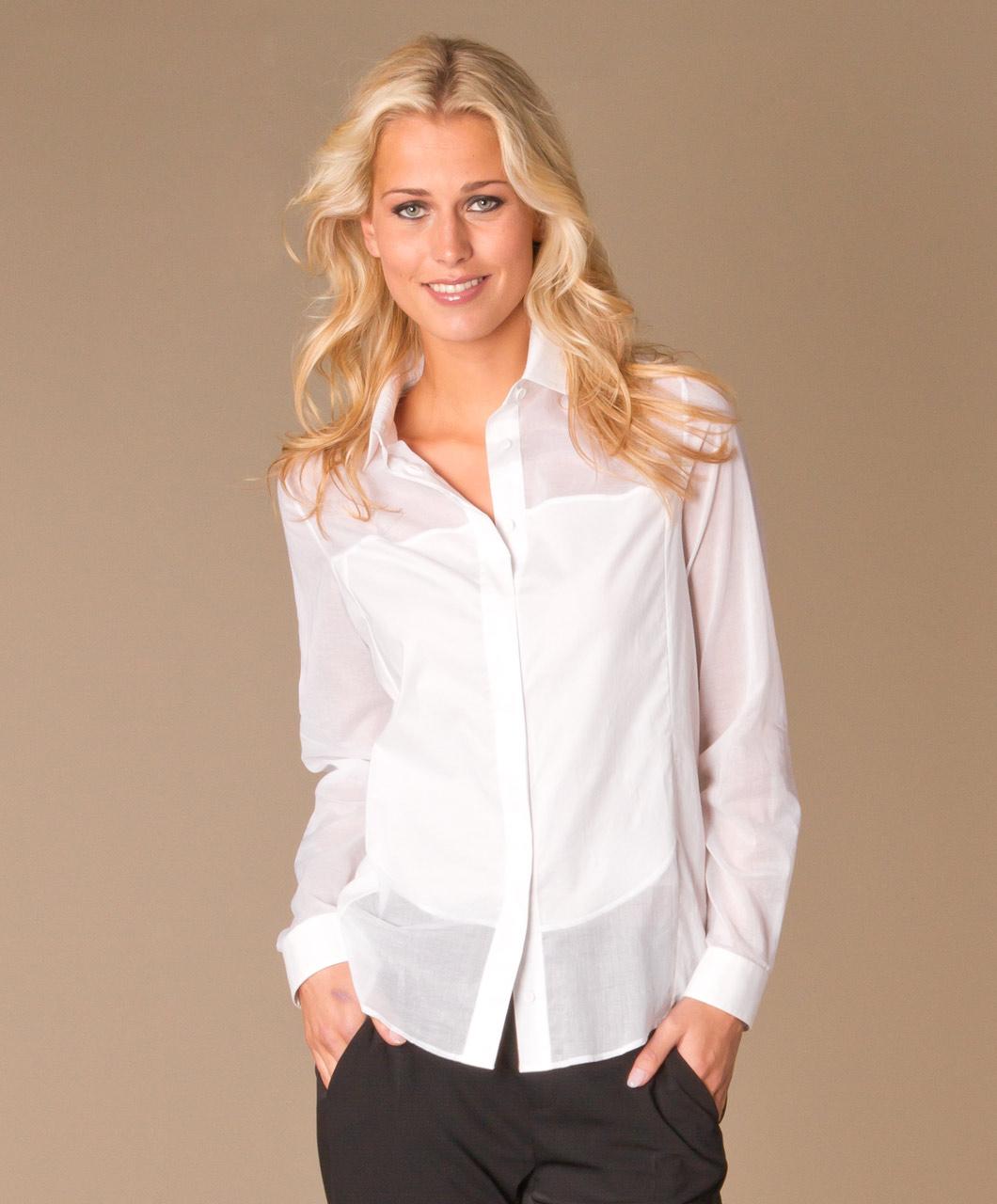 witte doorschijnende blouse