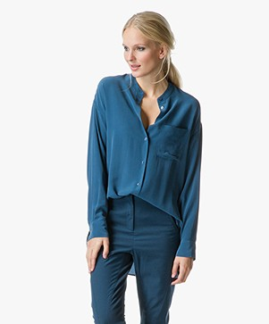Equipment Melodie Long Tunic Blouse in Pure Silk - Majolica Blue