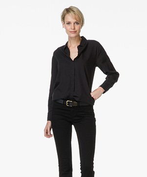 Denham Tencel Shirt Icon - Cinder Black
