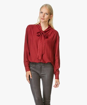 Closed Nell Cotton Twill Bow Tie Blouse - Red Brick