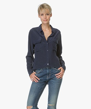 Equipment Signature Washed-silk Blouse - Donkerblauw