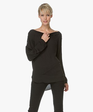 Theory Mock Button Top Brilivna - Black