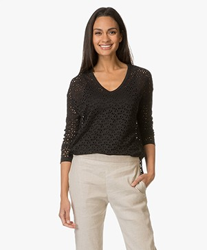 Majestic Broderie Anglaise Linen Long Sleeve - Black